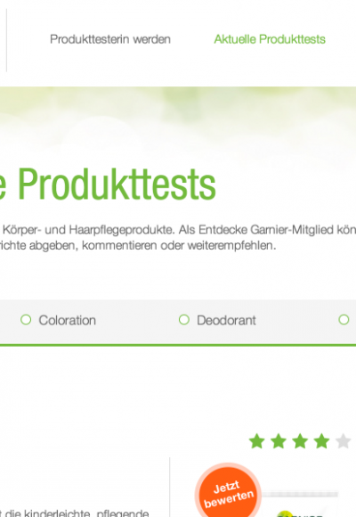 Garnier Produkttester werden: So gehts!