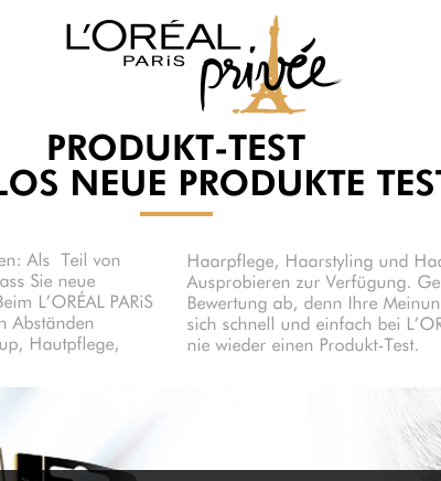 Produkttester Loreal werden: So gehts!